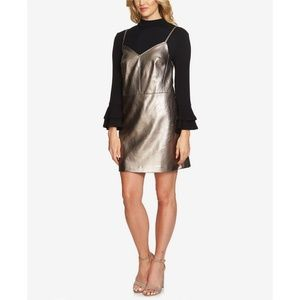 1. State Metallic Silver Vegan Leather Mini Dress